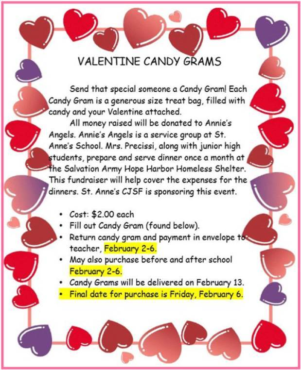 St. Anne's Catholic School Candy Gram Order Form